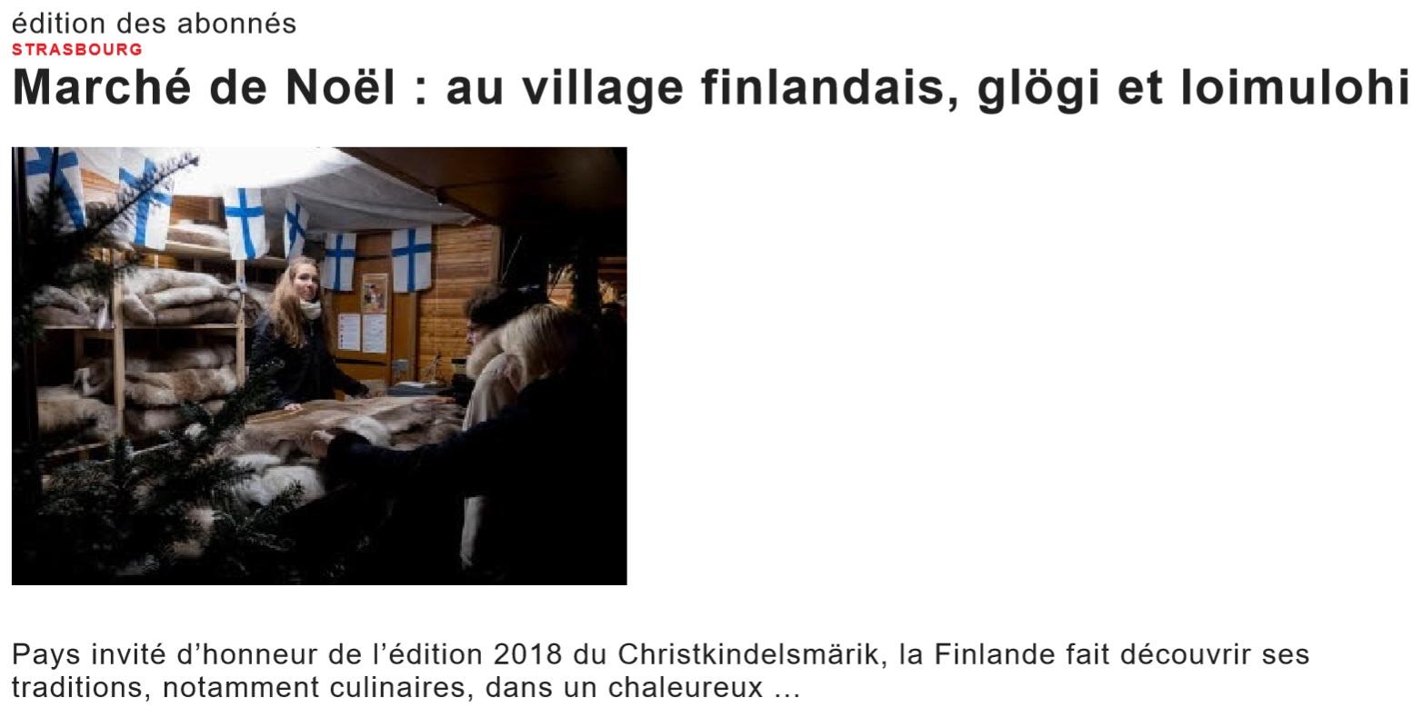 Marché de Noël au village finlandais, glögi et loimulohi