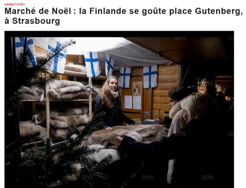 Marché de Noël la Finlande se goûte place Gutenberg, à Strasbourg